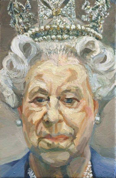 """""""Royal Treasures: A Golden Jubilee Celebration"""" The Queen's Gallery, Buckingham Palace 22 May 2002 - 12 January 2003 –P Her Majesty Queen Elizabeth II by Lucian Freud –P The Royal Collection © 2001 Lucian Freud –P This photograph is issued to end-user media only. It may be used once only. The image must be used in its entirety; it must not be cropped, adapted, altered or manipulated in any way. Photographs must not be archived or sold on. –P This image may only be used in connection with the exhibition Royal Treasures: A Golden Jubilee Celebration and not after 12 January 2003. –P Contact: Public Relations and Marketing, the Royal Collection - 020 7839 1377"""