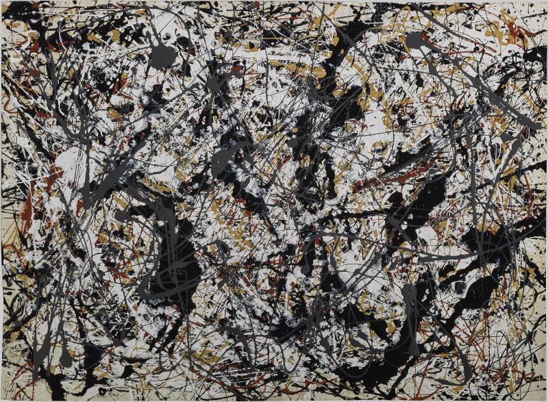 Jackson Pollock (1912 - 1956) Painting (Silver over Black, White, Yellow and Red), 1948 Peinture (Argent sur noir, blanc, jaune et rouge), 1948 Peinture sur papier marouflé sur toile, 61 x 80 cm Centre Georges Pompidou