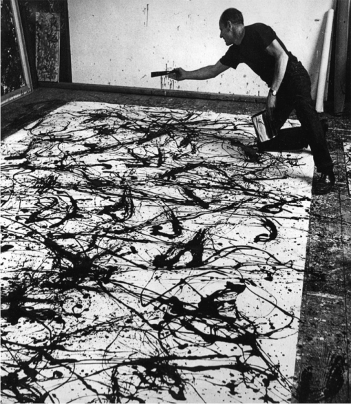 Hans Namuth, Jackson Pollock at work in 1950. Photographies en noir et blanc