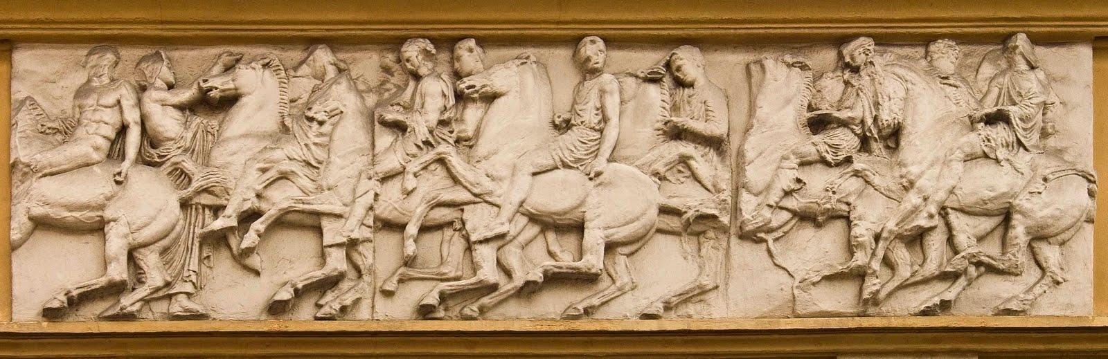 1b Frise du Parthénon Moulage de cavaliers Bas Relief antic Villa St Jacques a copie pm[1]